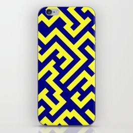 Electric Yellow and Navy Blue Diagonal Labyrinth iPhone Skin