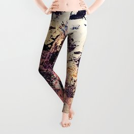 Brilliance: vibrant, colorful and textured in purple, gold, pink, blue, and white Leggings