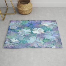 Painterly Midnight Floral Abstract Rug