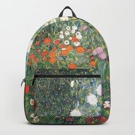 Cottage Flower Garden Gustav Klimt Painting Backpack