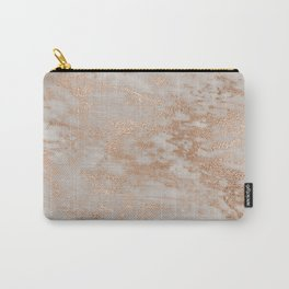 Rose Gold Copper Glitter Metal Foil Style Marble Carry-All Pouch
