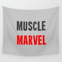 muscle Wall Tapestries featuring Workout Collection: Muscle by Kat Mun