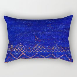 -A5- Royal Calm Blue Bohemian Moroccan Artwork. Rectangular Pillow