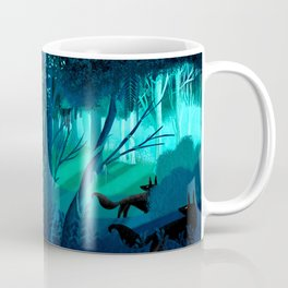 Shadow Wolves Stalk The Silver Wood Coffee Mug