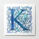 Letter K Antique Floral Letterpress by littlebunnywordtime