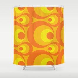 Crazy Orange Circles Shower Curtain