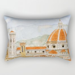 Italy Florence Cathedral Duomo watercolor painting Rectangular Pillow