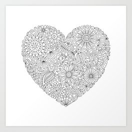 Flowers Heart Coloring Page, Flourish and Bloom Art Print