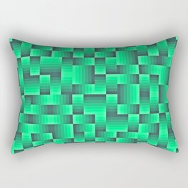 Deep Sea Green Geo Pattern Rectangular Pillow