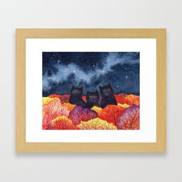Three Black Cats in Autumn Watercolor Framed Art Print