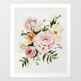 Loose Peonies & Poppies Floral Bouquet Art Print