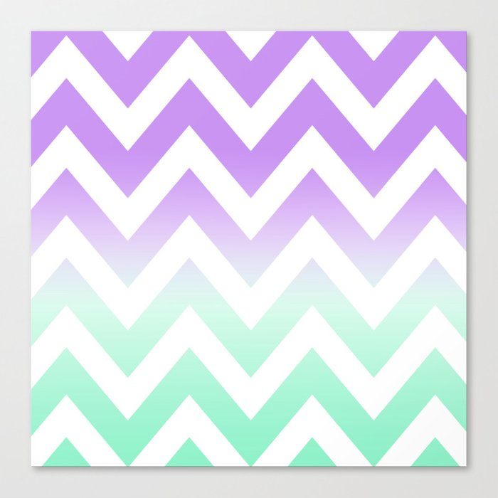 Green Amp Purple Chevron Fade Canvas Print By Nataliesales
