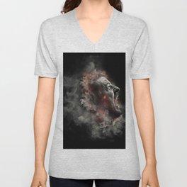 Burning face of man art Unisex V-Neck