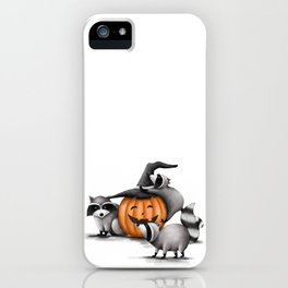 Raccoons and Jack-O-Lanterns iPhone Case