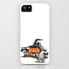 Raccoons and Jack-O-Lanterns iPhone Case