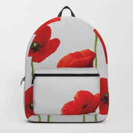 poppies Flowers red grey background Backpack