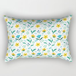Summer flowers in yellow and blue in white background Rectangular Pillow