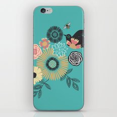 Birds & Bees - Turquoise iPhone & iPod Skin