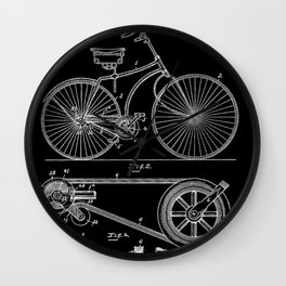 Bicycle Vintage 1890 Patent Papers Print Wall Clock