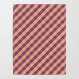 Coral plaid Poster