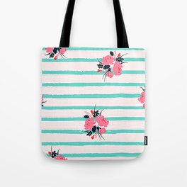 Contemporary Pink Floral Pattern With Mint Green Stripes Tote Bag