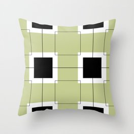 White Hairline Squares in Light Sand Throw Pillow