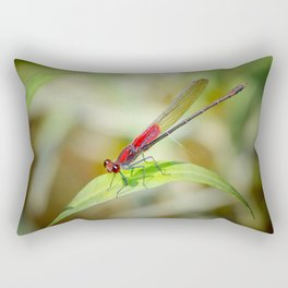 Red Damselfly Dragonfly Rectangular Pillow