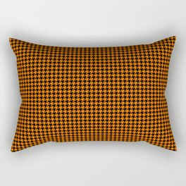 Large Dark Pumpkin Orange and Black Hell Hounds Tooth Check Rectangular Pillow