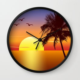 Sunset at tropical beach Wall Clock