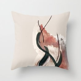 Storm: a minimal abstract mixed media piece in red white and blue Throw Pillow