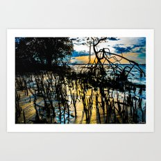 Twisted Shadows Play in a Sapphire Sunset Art Print