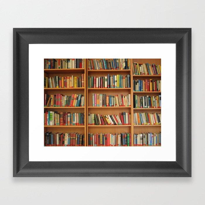 Bookshelf Books Library Bookworm Reading Gerahmter Kunstdruck
