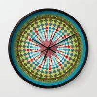 health Wall Clocks featuring Health Mandala - מנדלה בריאות by dotan yiloz
