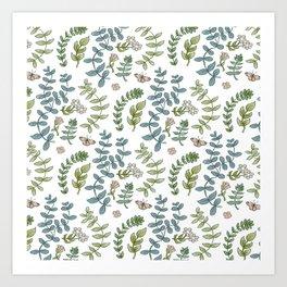 Leaves Flowers and Butterflies Art Print