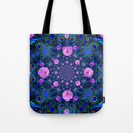 DECORATIVE HUNDRED  PINK ROSES & BLUE  ABSTRACT Tote Bag
