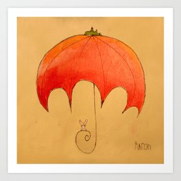 Tomato Brella with Bunny Art Print