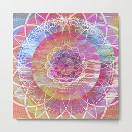 Glitch Mandala Metal Print