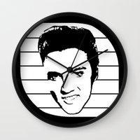 elvis presley Wall Clocks featuring Elvis Presley by Silvio Ledbetter