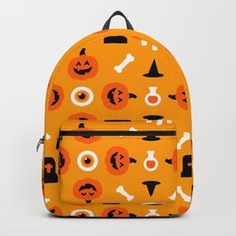 Happy halloween pattern with pumpkims, bones, skulls, graves and witch hats Backpack