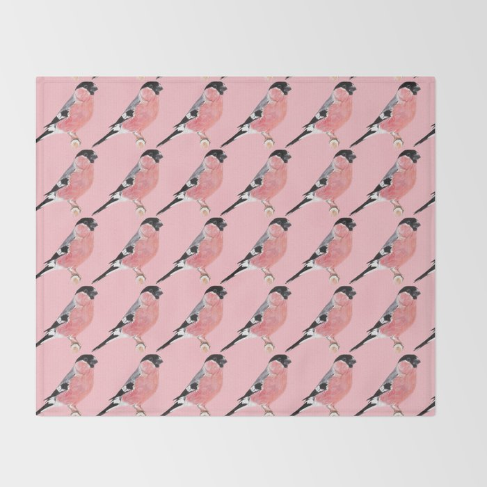Siberian Bullfinch (rose palette) Throw Blanket