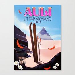 Auli, Uttarakhand, indian travel poster, Canvas Print