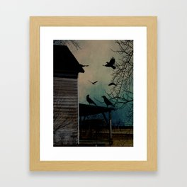Rustic Black Birds Crows on Abandoned House Porch Teal Art A605 Framed Art Print