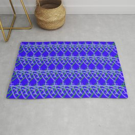 Braided diagonal pattern of wire and light arrows on a blue background. Rug