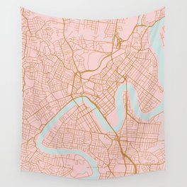 Pink and gold Brisbane map Wall Tapestry