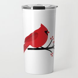 Cardinal on Branch Travel Mug