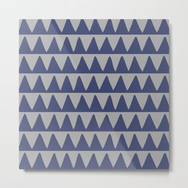 Retro Triangle Pattern 526 Blue and Gray Metal Print