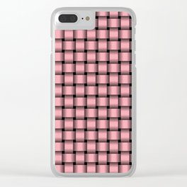 Small Pink Weave Clear iPhone Case