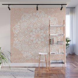 Seashell Mandala Coral Pink and White by Nature Magick Wall Mural