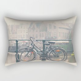 a bicycle date in Ghent Rectangular Pillow