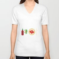 sriracha V-neck T-shirts featuring Sriracha Meal by I Ate My Pencil